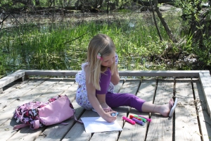 "Drawing her masterpiece ""Wetlands.""  ;)"