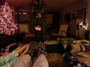 Family chill time on New Year's Eve.....another night that I would have worked in the past.